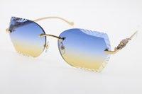 Superior proveedores Gafas de sol sin rimas Nuevas lentes talladas T8200762 Serie de leopardo Gafas de sol nuevas gafas sin montares CALIENTE Gafas de sol Unisex con caja