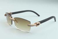 2020 جديد الرجال والنساء نفس النظارات كاملة الماس شخصية نظارات T3524012-24 الفاخرة بلا حدود نظارات شمسية طبيعية سوداء الخشب سلاح د
