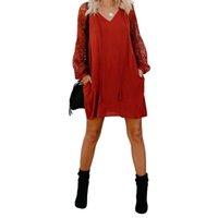 Yaz Kadın Casual Kırmızı Dantel Hollow Kol Maxi Elbiseler Zarif Vintage Seksi Orta Uzun Parti Elbise
