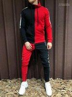 Толстовки карандаш брюки костюмы хип-хоп Спорт 2 шт. наборы цвет обшитый панелями мужской дизайнерский спортивный костюм кардиган с длинным рукавом