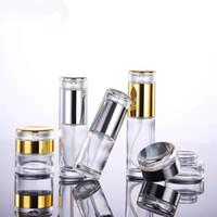 Пустой Перезаправляемые Clear Glass Pump Bottle (10ML ~ 120мл) для упаковки лосьон, крем Косметические баночки Путешествия Малый Контейнер 20г 30г 50г