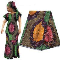 Ткань Цифровая Печатная печать Африканский этнический батика Хлопчатобумажная одежда Охраняемая воск 487