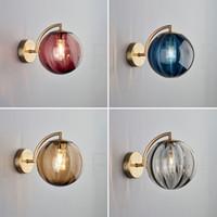 الشمال غرفة المعيشة لون الزجاج جدار ضوء بسيط الإبداعية نوم السرير دراسة تصميم نمط أدى الجدار مصباح 90-260 فولت