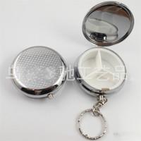 Mini casse pillola portachiavi in metallo forma rotonda 3 Griglia contenitore portatile scatola con specchio Eco Friendly 2 5yr E1