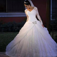 De luxe Taille Plus de dentelle dentelle robe de bal robes de mariée Robes de mariée V-cristaux Appliques cou Robe de mariée Robes de mariée
