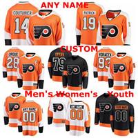 Filadelfia Ulotki Koszulki Carter Hart Jersey Claude Giroux Sean Couturier Nolan Patrick Jakub Vorace Koszulki Hokej na lodzie Niestandardowe szyte
