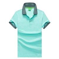 Polo Mens Clothing Poloshirt shirt Mistura Homens de algodão de manga curta Casual respirável verão respirável Sólidos Roupas Masculino tamanho M-2XL