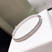 Марка Pure 925 стерлингового серебра ювелирные изделия для женщин Полный камень тонкий серебряный браслет клевера браслет Свадебные украшения вокруг бусины браслет