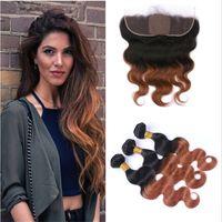 Cheveux Tissages Base de dentelle de soie Frontal avec Bundles # 30 Auburn Body Ombre vague cheveux avec 13x4 dentelle Frontal fermeture