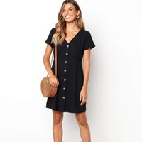 Frauen Solid Black Dress Schlanke Taille V-Ausschnitt Kurzarm Frauen Kleid Button Up 2019 Sommer