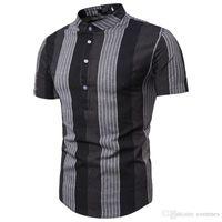 أزياء الصيف عارضة القمصان قصيرة الأكمام نصب منصة مصمم رجالي قمصان عارضة الذكور الملابس طباعة الشريط رجل