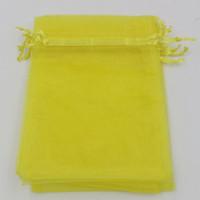 Sıcak ! Limon Sarı 7x9 cm 9x11 cm 13x18 cm Organze Takı Hediye Kılıfı Çanta Düğün Iyilik Için, Boncuk Aksesuarları