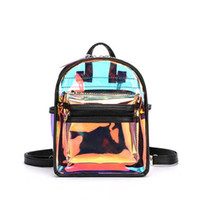 Nueva moda transparente ver a través de PVC Mini mochila mujer adolescente escuela mochila láser jalea mochila transparente