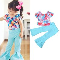 girls set legging design casual clothes Kid shell print top ...