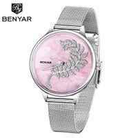 Benyar luxo ímã fivela quartzo relógios para mulheres simples rosa ouro desgin creative bracelet vestido senhoras relógio