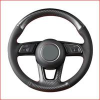 Черная крышка рулевого колеса из углеродного волокна PU для Audi A1 (8X) Sportback A3 (8V) A4 (B9) Avant A5 (F5) Q2 аксессуары