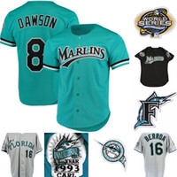 Мужские Florida Marlins 3 Carl Everett 8 Andre Dawson 13 John Boles 16 Geronimo Berroa 31 Mike Piazza 35 Dontrelle Willis Бейсбольные Майки
