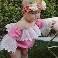 Verão New recém-nascido Bebés Meninas Lace Strapless Flared mangas macacãozinho Jumpsuit