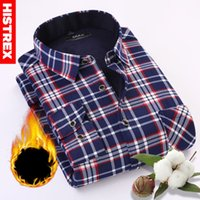 HISTREX Brand Men Shirt Navy Gray Red Plaid Long Sleeve Casu...
