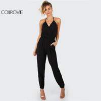 Colrovie zarif siyah halter tulum surplice casual kadın öz kravat v boyun tulumlar moda sıcak seksi backless tulum t5190612