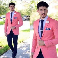 Brand New Two Buttons Pink Groom Tuxedos Notch Lapel Men Sui...