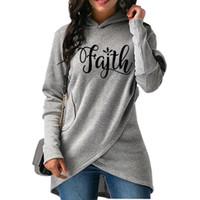 Split Faith Lettres Imprimer Hoodies Pour Femmes Hoodies Femmes Tops Sweat-shirts En Vrac Drôle Motif En Velours Côtelé Recadrée Creative