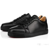 Hot Sale - - Black, White Leather Men' s Flat Low Top Red ...