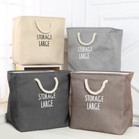 Scatola di immagazzinaggio dei cesti di immagazzinaggio della lavanderia impermeabile Pieghevole Scatola di immagazzinaggio di snack portatile giocattolo di tela di cotone pieghevole di lino DH0656-1