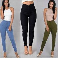 Kadınlar Desihner Yıkanmış Kot Moda Şeker Renkler Kalem Pantolon Rahat Skinny Fermuar Yüksek Bel Pantolon Kadın Giyim