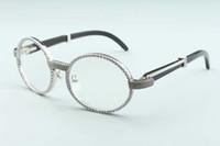مبيعات المصنع مباشرة في عام 2020 جديد الطبيعي الماس قرن أسود نظارات 7550178-B5 عالية الجودة الإطار الكامل الماس ملفوفة إطار المرآة