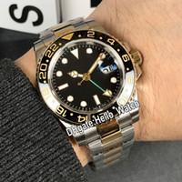 Nouveau GMT II cadran noir 116713 116713-LN-78203 automatique Mens Watch vert Second deux tons d'or Bracelet en acier wathces Sapphire Hello_Watch