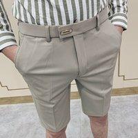 Elegant Mens Suit Pants Stretch Fifth Office Dress Pants Gentleman Cropped Pant Black Fashion Stylish Men Shorts Classic Summer
