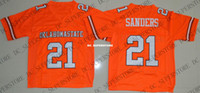 custom Barry Sanders 21 Oklahoma State College Football Jers...
