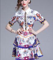 2019 şövalye at baskılı kek etek kısa kollu elbise sokak tarzı elbiseler yaz Flora diz üstü baskılı
