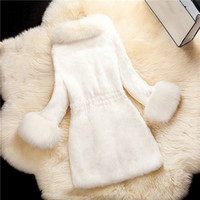 Новое прибытие зимы отложной воротник с длинными Outwear Женщины искусственного меха Толстые Твердая Шинель Элегантный Длинные рукава Теплые пальто