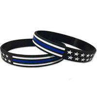 4 Styles US-Handgelenk-Band US Blau Red Line American Flag-Silikon-Armband-Handgelenk-Band-Partei-Bevorzugung ZZA2158 5000Pcs