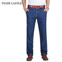 TIGER ЗАМОК 100% хлопок Весна Лето Мужчины джинсы Незначительные Классические джинсовые брюки Мужской Омывается мешковатые джинсы Причинная Man