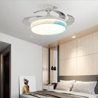 Moderne 42inch Deckenventilator mit Licht und Fernbedienung Fandelier Retractable Invisible Blade-LED Drei-Farb-Licht für Wohnzimmer Schlafzimmer