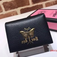 2020 Top Quality Celebrity design Letter Butterfly insect Metal Buckle Two fold wallet Cowhide Leather 516938 Short Purse Clutch