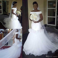 Charming Ruffle African Mermaid Wedding Dresses Plus Size Ba...