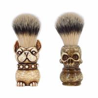 Cepillo de afeitado de barba Forma de calavera Badger puro PP Mango Nylon Bigote Peluquería Pinceles Herramienta de limpieza para el hogar de salón de hogar