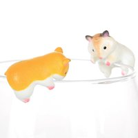 Lovely Mini Hamster Cup Edge Figure Animal Model Straw Decor...