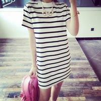 Largas de la ropa despojado t camisa nueva moda de verano de las mujeres Tops chica manga corta camiseta de Calle