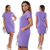 Vestidos Verano Casual Summer Dress Lace Sleeve Vestito da partito elegante Plus Size Donna dritto Semplice 5XL 6XL