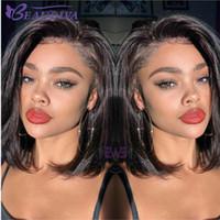 Kısa Dantel Ön İnsan Saç Peruk Doğal Renk İnsan Saç Tam Dantel Peruk Brezilyalı Saç Bob Peruk Siyah Kadınlar için