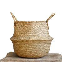 السلة المنسوجة الأعشاب المنسوجة الأعشاب البحرية حمل سلة البطن للتخزين الغسيل نزهة النبات وعاء غطاء حقيبة الشاطئ
