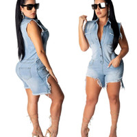 Las mujeres atractivas de los pantalones vaqueros cortos Monos la mujer de la moda del verano sin mangas delgado lavado Denim Shorts Monos