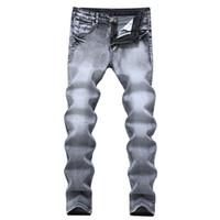 Cinza novo jeans primavera e verão dos homens magros pés calças elásticas juventude popular esticar calças casuais maré