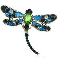 Insetti del maglione della lega della libellula spilla di diamanti Pins dal design di lusso Spille zinco strass Moda Donna Pins panno Accessori