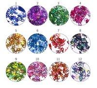 Laser Nail Glitter Paillettes 3D Mixed Letter 26 Disegni Holographic Nails Pailette Manicure Nail Art Decor Bellezza completa